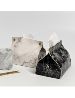 1Pc Marble Pattern Removable Tissue Box Pu Leather Home Car Napkin Paper Container