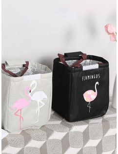 1Pc Lunch Bag Cartoon Flamingos Pattern Waterproof Portable Insulated Bag
