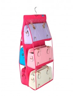 1 Pc Hanging Storage Bag Non-woven Fabric 6 Layer Perspective Hanging Bags Storage Wardrobe