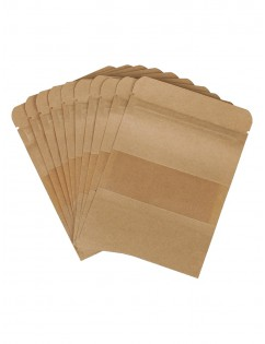 100 Pcs Ziplock Bags Coffee Seeds Sweets Ziplock Seal Kraft Paper Bag Window Stand Up Sealable Pouch