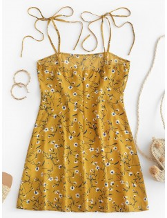 Ditsy Print Tie Sundress - Bee Yellow S