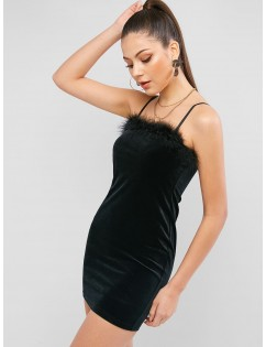Feather Trim Velvet Bodycon Club Dress - Black S