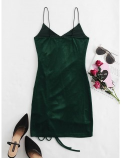 Cinched Velvet Bodycon Cami Dress - Medium Sea Green Xl