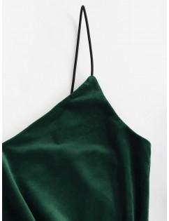 Cinched Velvet Bodycon Cami Dress - Medium Sea Green Xl