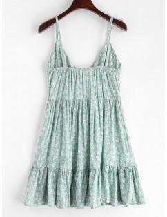 Ruffles Half Buttoned Floral Dress - Light Aquamarine S