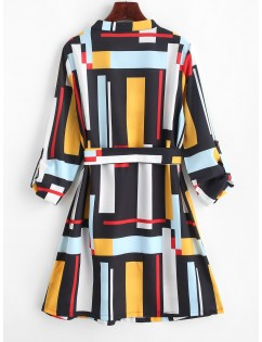 Belted Buttoned Sleeve Tabs Geometric Mini Dress - Multi S
