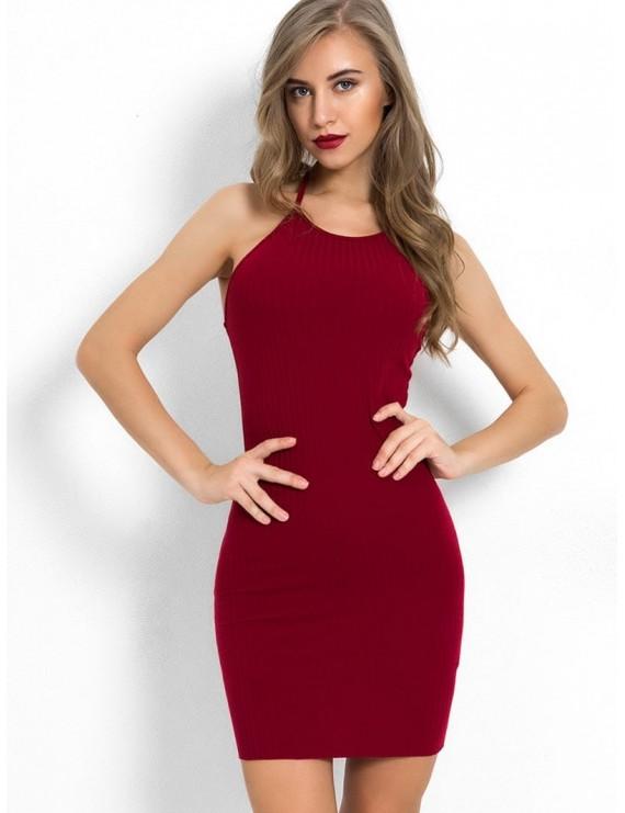 Halter Neck Plain Bodycon Dress - Red Wine S