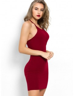 Halter Neck Plain Bodycon Dress - Red Wine S