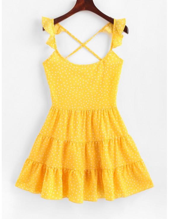 Dotted Lace Up Criss Cross Mini Dress - Yellow S