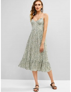Shirred Tiny Floral Cami Dress - Multi M