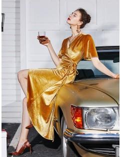 Velvet Asymmetrical Midi Wrap Dress - Golden Brown Xl