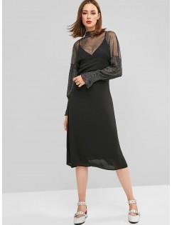 Back Zipper Solid Midi Pinafore Dress - Black 2xl