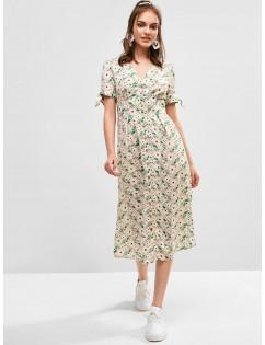 Button Up Slit Floral Midi Dress - Milk White M
