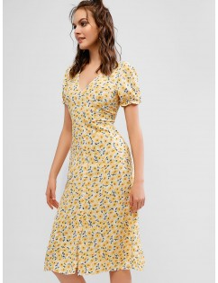 Half Buttoned Floral A Line Midi Dress - Yellow S