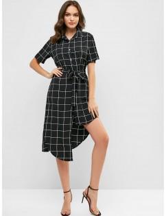 Belted Checked Asymmetrical Shirt Dress - Black M