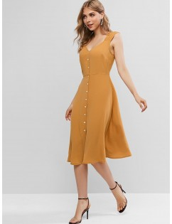 Button Fly Sweetheart Neck Midi Backless Dress - Caramel M