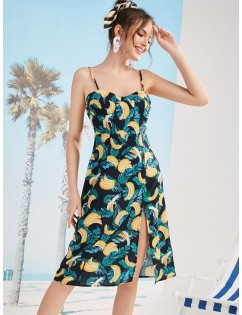 Banana Print Slit Cami Dress - Multi-l M