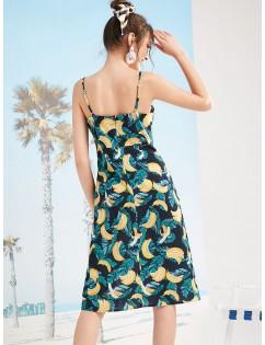 Banana Print Slit Cami Dress - Multi-l M