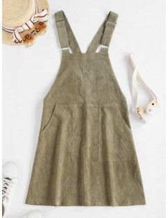 Double Pocket Buckle Strap Corduroy Pinafore Dress - Camouflage Green S