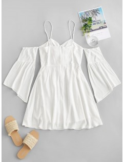 Cold Shoulder Flare Sleeve Cinched Mini Dress - Milk White S