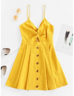 Buttoned Cut Out Twist Cami Dress - Bee Yellow Xl