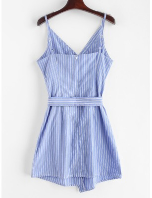 Buttoned Stripes Cami Dress - Blue Koi M