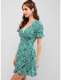Floral Ruffle Mini Wrap Dress - Light Sea Green L
