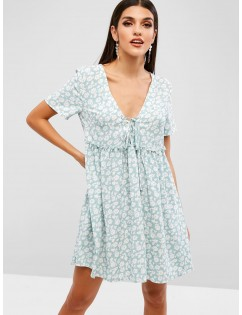Floral Print Lace Up A Line Dress - Turquoise M