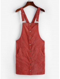 Corduroy Pocket Button Front Overall Dress - Chestnut Red S