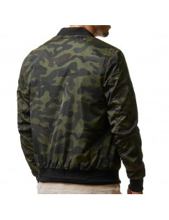 Men's Military Camouflage Stand Collar Arm Zipper Pocket Casual Jacket