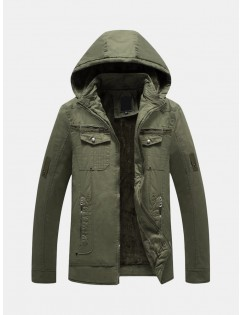 Men's Military Plush Lining Thicken Multi Pockets Zipper Decoration Hooded Outdoor Tooling Jacket