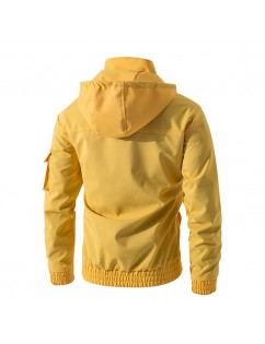 Men's Casual Waterproof Multi Pocket Cotton Blend Hooded Long Sleeve Solid Collor Winkbreak Jacket