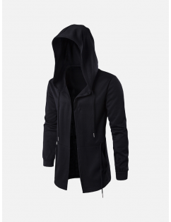Men's Brief All Black Casual Mid Long Drawstring Waist Hooded Jacket for Men