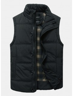 Fashion Cotton Thick Warm Vest Casual Slim Fit Stand Collar Coat For Men