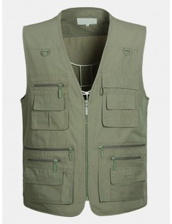 Fall Outdoor Fishing Reporter Photography Loose Multi Pockets Vest for Men