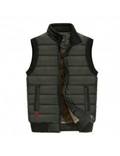Men's Outdoor Military Thicken Plus Size Velvet Lining Solid Color Stand Collar Down Vest