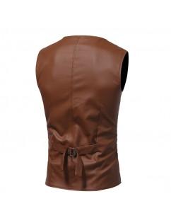 Casual Business V Neck Belt Leather Vest for Men