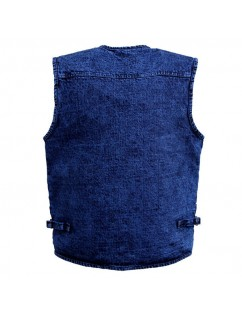 Denim Mutil Pockets Blue Fishing Photography Outdoor Casual Vest for Men