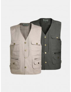 Cotton Multi Pockets Photography Fishing Casual Vest for Men