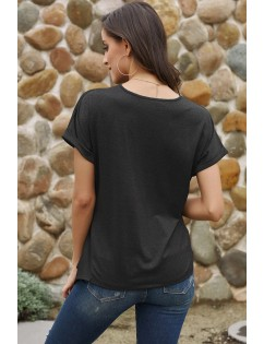 Black Wrap Self Tie Waist Short Sleeve Top