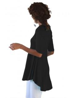 Black Half Sleeve V Neck A-Line Top