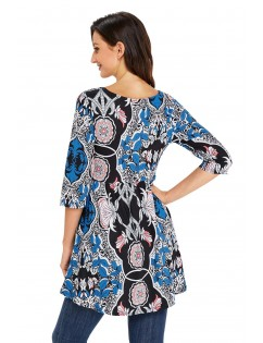 Abstract Mottled Leaf Print Black Elegant Long Top