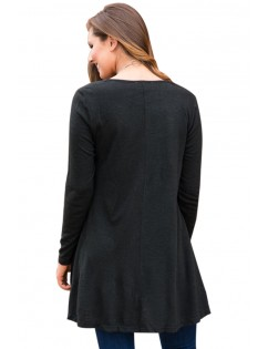 Black Swingy Layered Long Sleeve Tunic