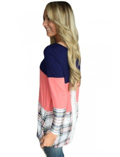 Black Coral Block Plaid Splice Long Sleeve Top