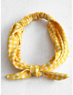 Adjustable Knotted Gingham Hairband - Multi-a