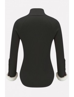 Black Splicing Button Decor Long Sleeve Casual Sweater