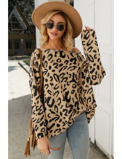 Apricot Leopard Long Sleeve Casual Pullover Sweater