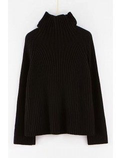 Black Ribbed High Collar Long Sleeve Casual Pullover Sweater