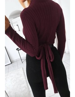 Dark-red Tied Mock Neck Long Sleeve Casual Sweater