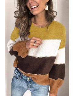 Color Block Round Neck Long Sleeve Casual Sweater